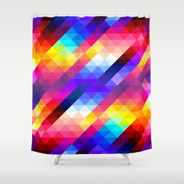 Abstract Colorful Decorative Squares Pattern Shower Curtain