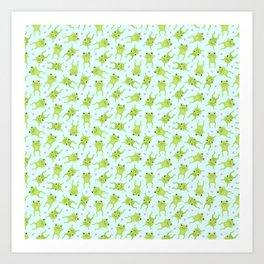 Kawaii Happy Frogs on Blue Art Print