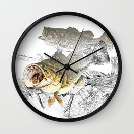 Largemouth Black Bass Fishing Art Wall Clock