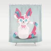 sylveon Shower Curtains featuring Evolution Bobbles - Sylveon by creativeesc