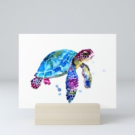 Sea Turtle, Blue Purple Turtle illustration, Sea Turtle design Mini Art Print