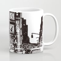 new york Mugs featuring New York New York by Bianca Green