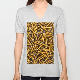 Pencil it in / 3D render of hundreds of yellow pencils Unisex V-Neck