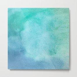 Blue Watercolor Texture Metal Print