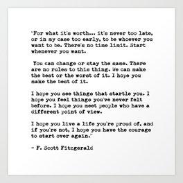 F Scott Fitzgerald quote Art Print