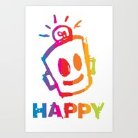 HAPPY  Stripes Art Print