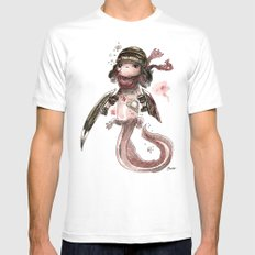 Axolotl Barbare Mens Fitted Tee White MEDIUM