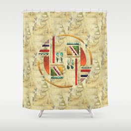 Tribal God War Dance Folk Art Shower Curtain