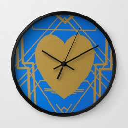 Heart Deco: Gaslight Blues Wall Clock