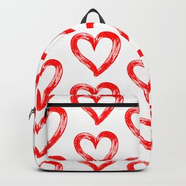 Red heart pattern 01 white Backpack