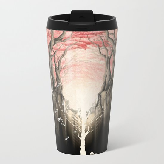 Revenge of the nature II: growing red forest above the city. Metal Travel Mug