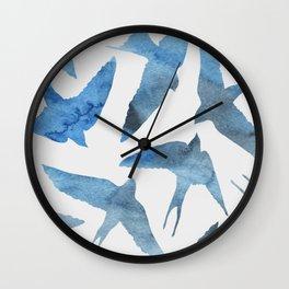 Watercolor birds - sapphire ink Wall Clock