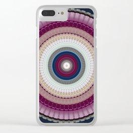Decorative Wine Dark Blue Mandala Clear iPhone Case