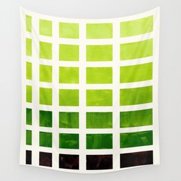 Sap Green Minimalist Mid Century Grid Pattern Staggered Square Matrix Watercolor Painting Wall Tapestry