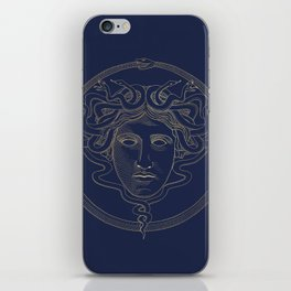 medusa / gold minimal line logo on navy background iPhone Skin