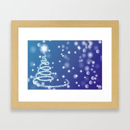 Christmas background with bokeh and snowflake Framed Art Print