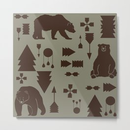 Tribal Bear Brown Metal Print