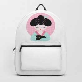 Geisha with black cat Backpack