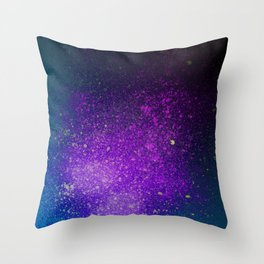 "Purple Stars Paint splatter on Deep Blue ""Dream On"" Throw Pillow"