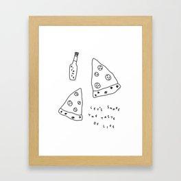 Pizza Illustration - Let's Share the Taste of Life Framed Art Print