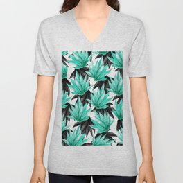 Modern Black and Teal Watercolor Tropical Leaves Unisex V-Neck