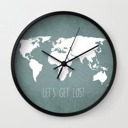Let's Get Lost World Map Wall Clock