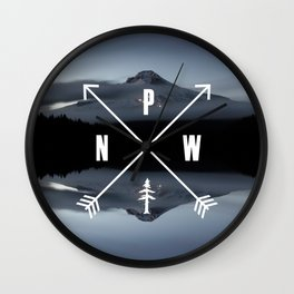 PNW Pacific Northwest Compass - Mt Hood Adventure Wall Clock