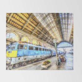 Keleti Railway Station Budapest Art Throw Blanket