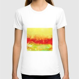 Vibrant Yellow Sunset Glow Textured Abstract T-shirt
