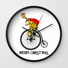Giraffe on a bike Santa Claus Wall Clock