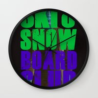 snowboard Wall Clocks featuring WHS Ski and Snowboard Club by slothcats
