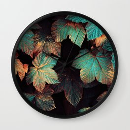 Copper And Teal Leaves Wall Clock