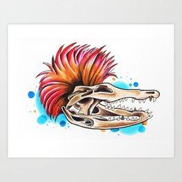 Punk Rock Gator Art Print