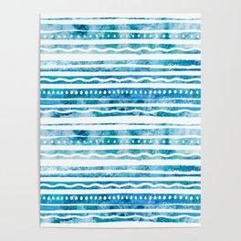 Ocean Blue Stripe Pattern Poster