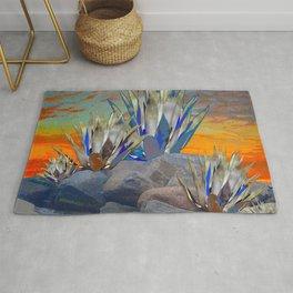 AGAVE CACTI DESERT SUNSET LANDSCAPE ART Rug