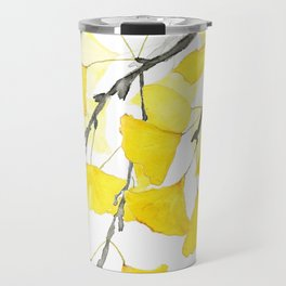 Golden Ginkgo Leaves Travel Mug