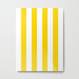 Vertical Stripes - White and Gold Yellow Metal Print
