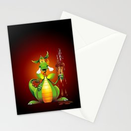 Fun Dragon Cartoon with melted Ice Cream Stationery Cards