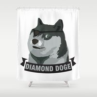 doge Shower Curtains featuring DIAMOND DOGE by MDRMDRMDR