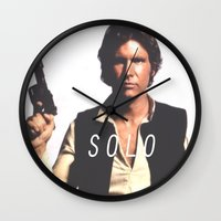 han solo Wall Clocks featuring Han / Solo by Earl of Grey