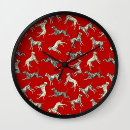 Dalmatian Dogs & Dark Red Wall Clock