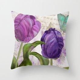 Parrot Tulips Throw Pillow