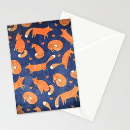 Foxes at Night - Cute Fox Pattern Stationery Cards