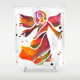 Colorful Angel Acrylic Abstract Painting by Saribelle Rodriguez Shower Curtain