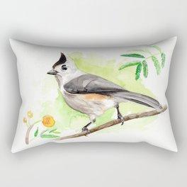 Watercolor Titmouse Rectangular Pillow