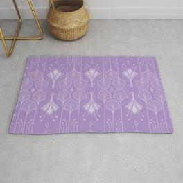 Pastel Lavender Lily Lake - Retro Floral Pattern Rug