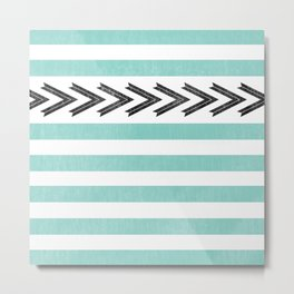ARROW STRIPE {TEAL} Metal Print