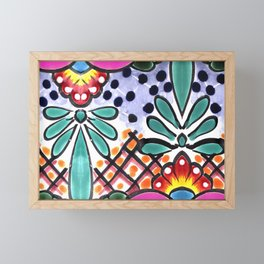 Colorful Talavera, Pink Accent, Large, Mexican Tile Design Framed Mini Art Print