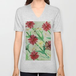 Daisies Butterflies Katydid Red Green and White Unisex V-Neck