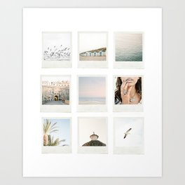 Instant film photo collage | Beach photography retro vintage look Art Print